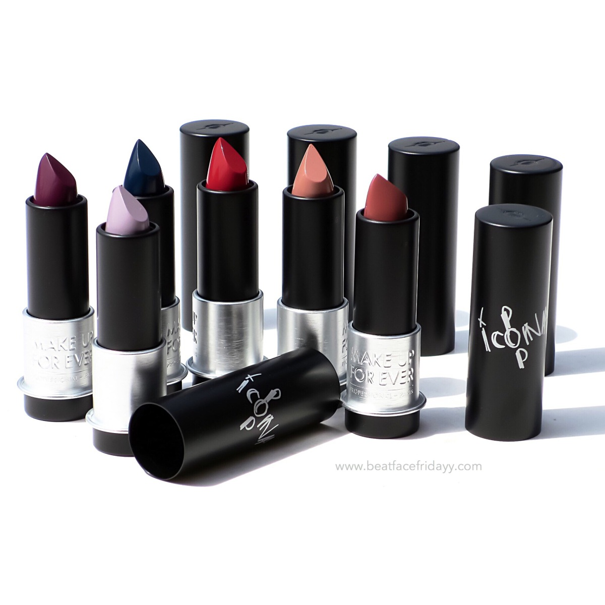MAKE UP FOR EVER Artist Rouge Lipsticks C105, C211, C502, C506, C603, M401 Swatch