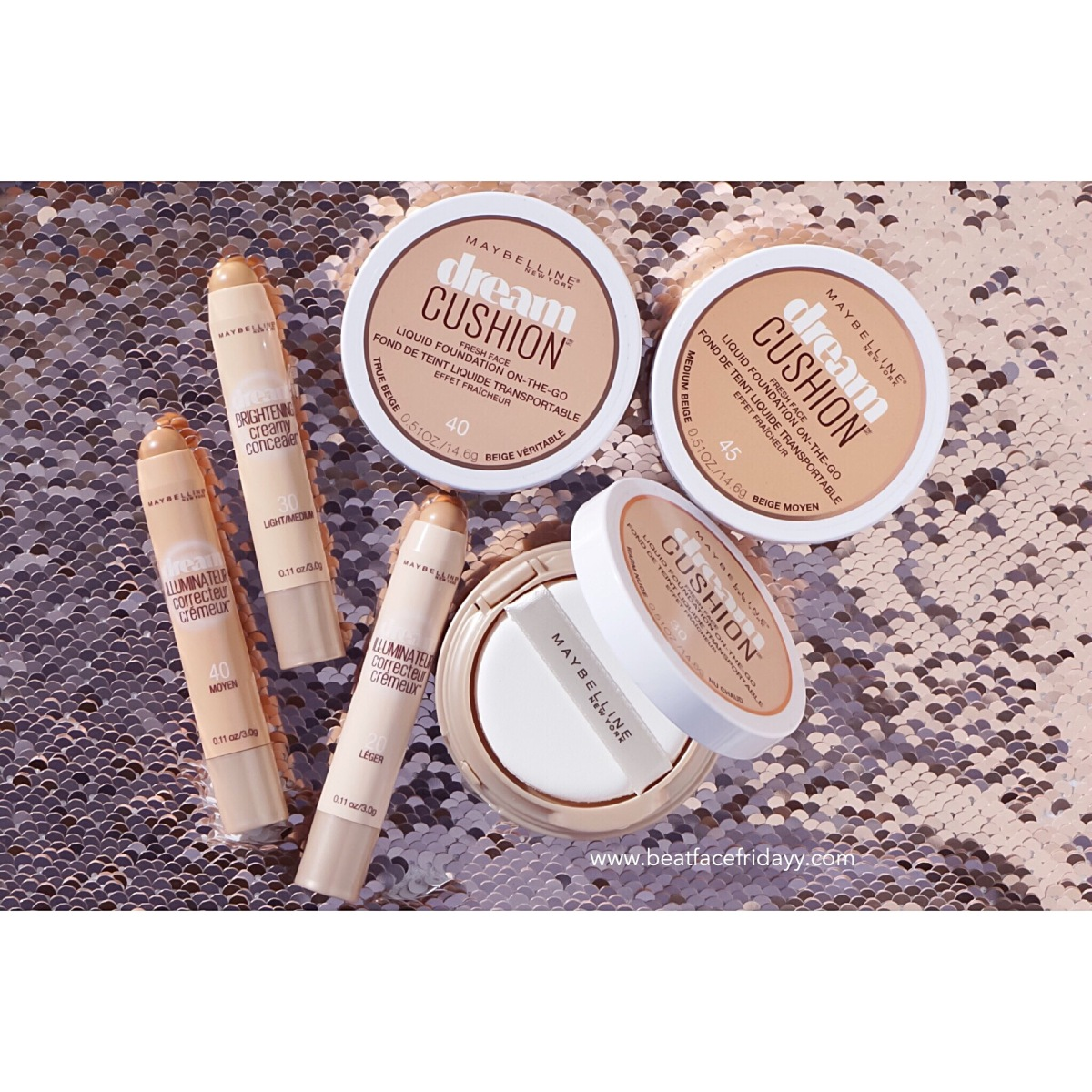 Maybelline Dream Cushion Foundation Porcelain, Ivory, Classic Ivory, Warm Nude, True Beige, Medium Beige, Caramel Swatch + Dream Brightening Creamy Concealer Fair, Light, Light/Medium, Medium, Medium/Deep, Deep Swatch + First Impressions