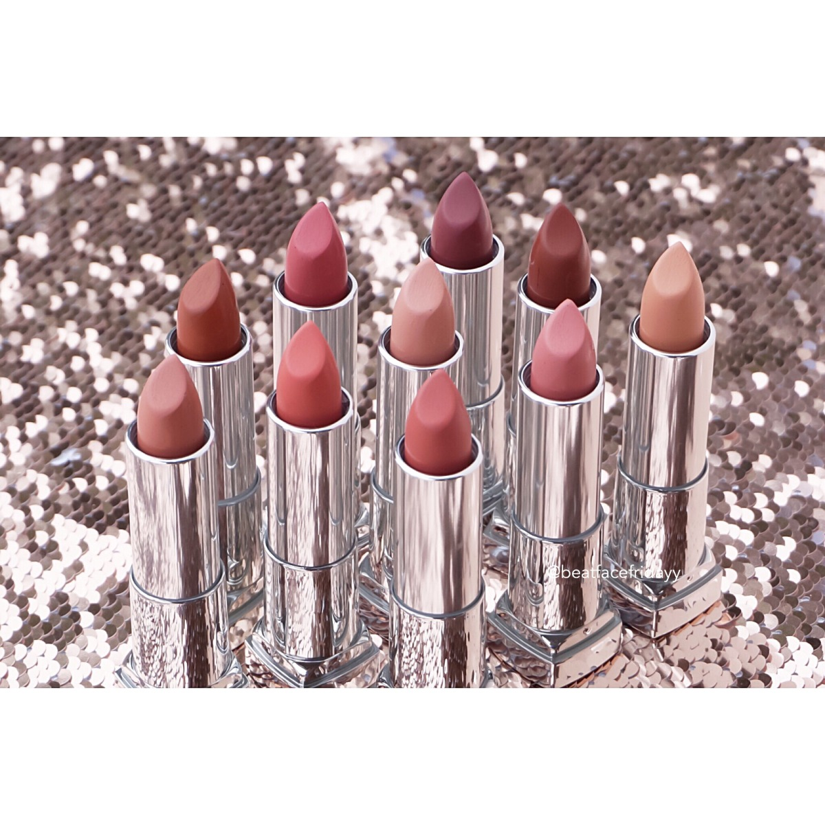 Maybelline Color Sensational Inti-Matte Nudes Hot Sand, Purely Nude, Peach Buff, Beige Babe, Honey Pink, Naked Coral, Raw Chocolate, Almond Rose, Toasted Truffle, Brown Blush Lipstick Swatches