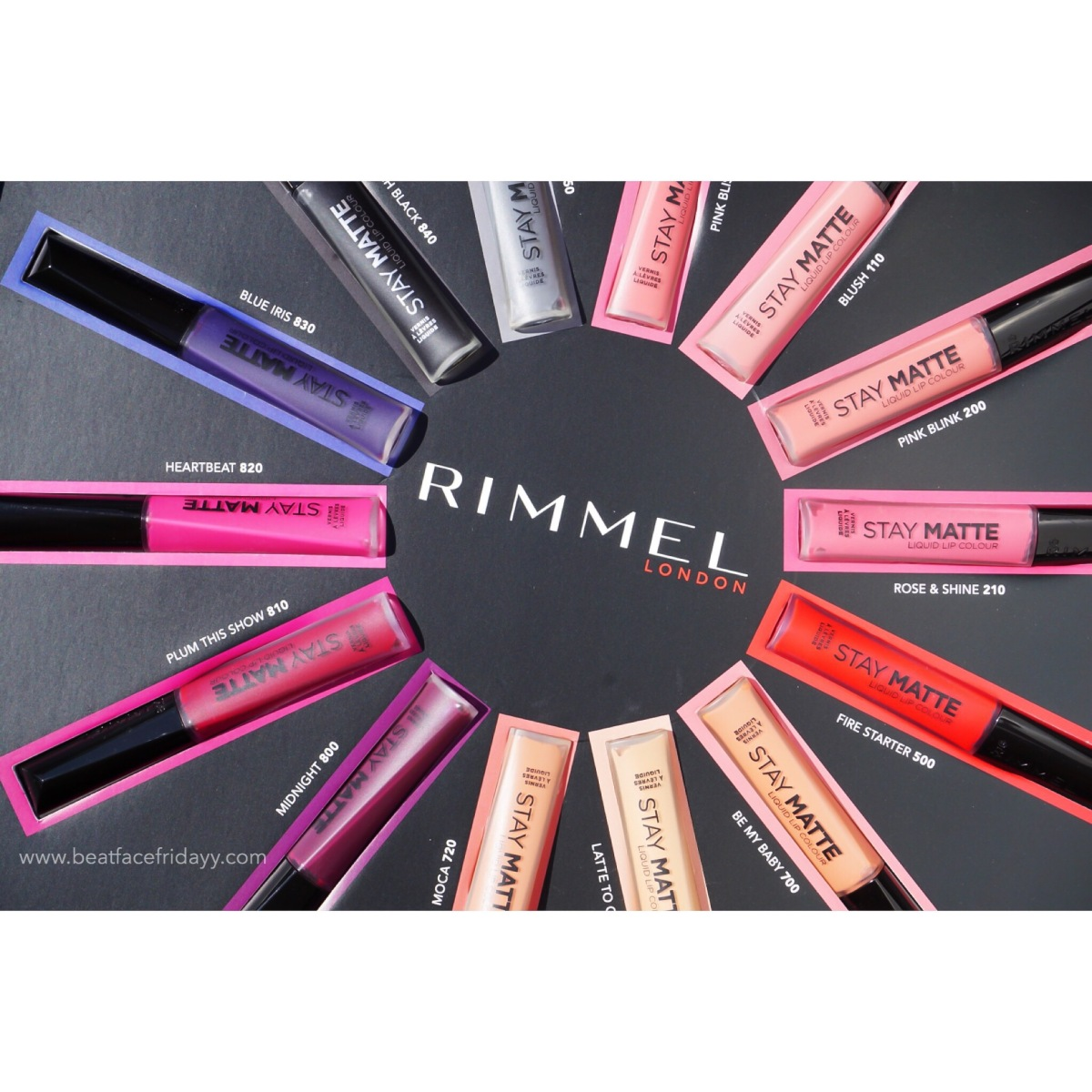 Rimmel London Stay Matte Liquid Lip Colour Pink Bliss, Blush, Pink Blush, Rose and Shine, Fire Starter, Be My Baby, Latte, Moca, Midnight, Plum This Show, Heartbeat, Blue Iris, Pitch Black, Shadow Swatch (ULTA Exclusive)
